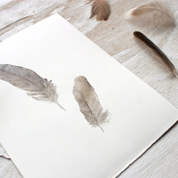 Detail of original watercolor painting of sparrow feathers by Kathleen Maunder