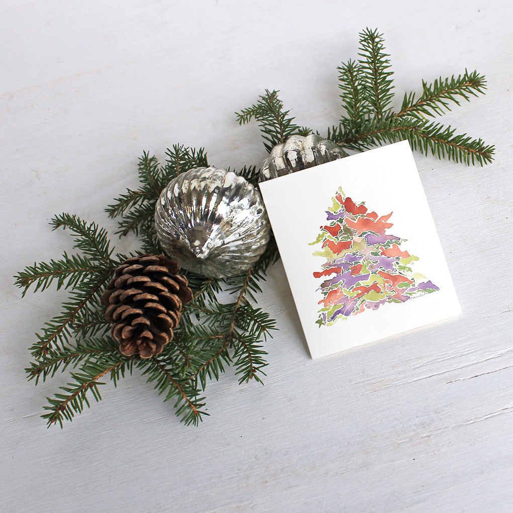 Holiday Watercolor Tree Gifts Cards for Christmas by Trowel and Paintbrush
