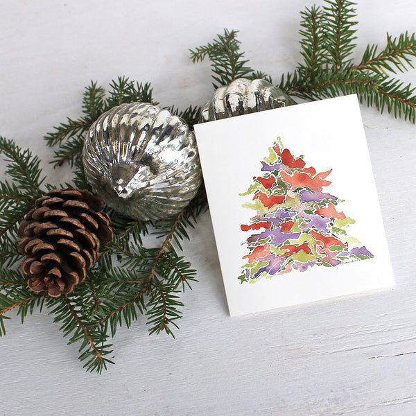 Holiday Watercolour Tree Gifts Cards for Christmas by Trowel and Paintbrush