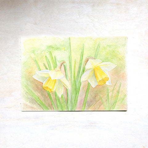Daffodil Watercolor Painting - Duet