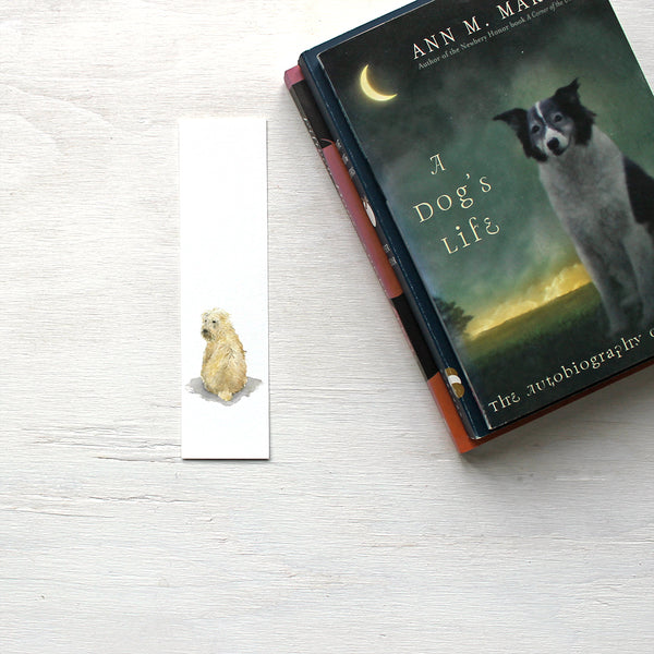 Wheaten terrier paper bookmark featuring a dog painting by watercolor artist Kathleen Maunder