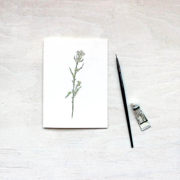 White yarrow watercolour note card by artist Kathleen Maunder