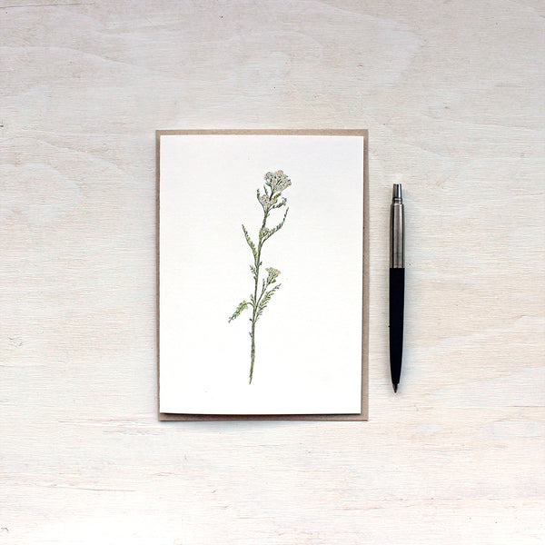 White yarrow watercolor note card with recycled kraft envelope.