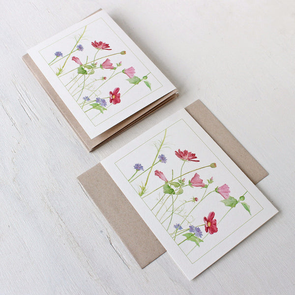 Wildflower note cards with kraft envelopes, trowelandpaintbrush