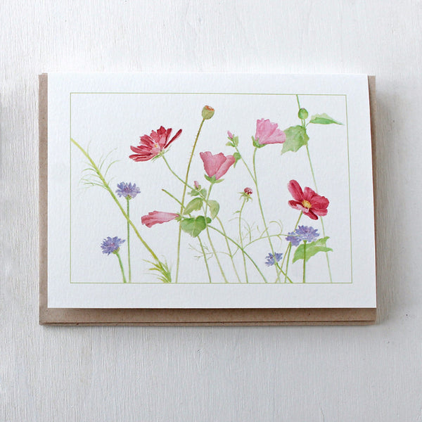 Wildflowers watercolor note cards by Kathleen Maunder