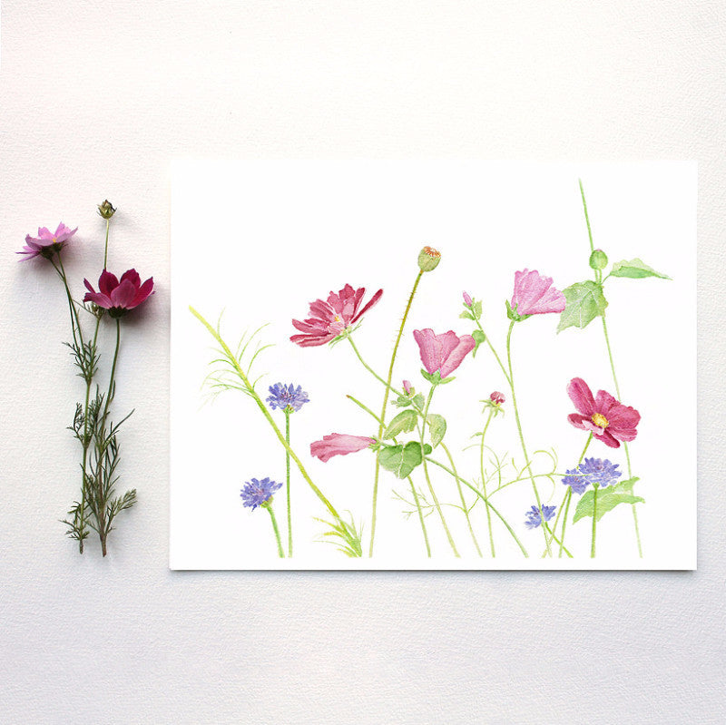 Wildflower Watercolor Print by Kathleen Maunder, trowelandpaintbrush