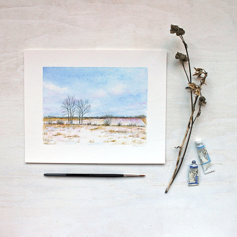 Winter Field and Sky Watercolor Art Print