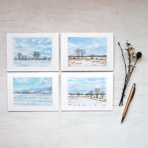 Note card collection featuring four different rural winter landscape paintings by watercolor artist Kathleen Maunder.