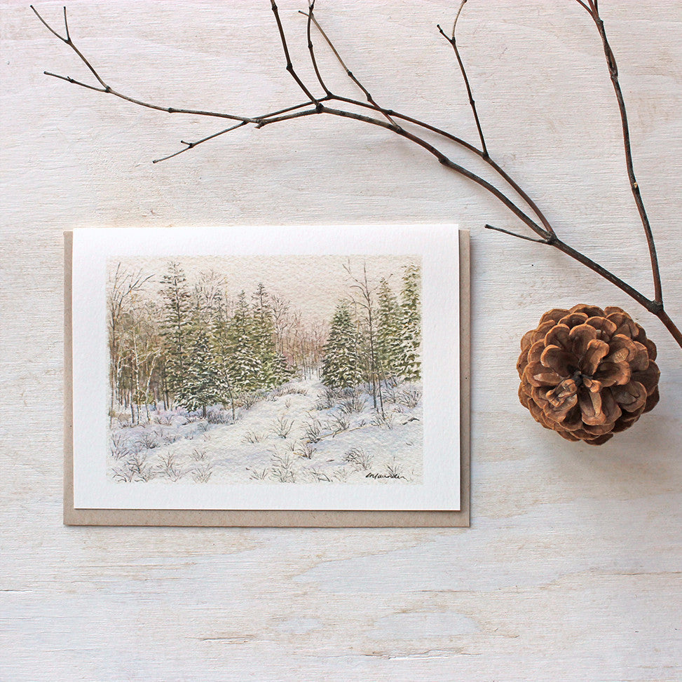 Note card with snowy winter watercolor landscape by Kathleen Maunder, Trowel and Paintbrush