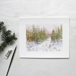 Winter Forest Print featuring a watercolor painting by Kathleen Maunder