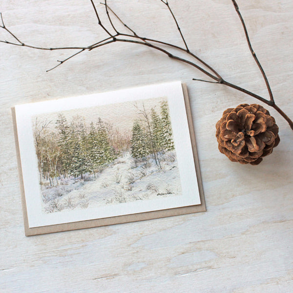Snowy winter landscape holiday card by Kathleen Maunder, trowelandpaintbrush