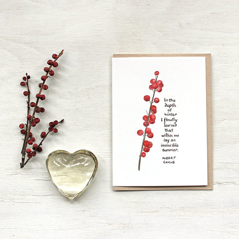 Note card featuring a watercolor painting of winterberry and a quote by Albert Camus