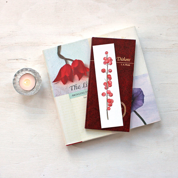 Winterberry (Ilex verticillata) bookmark featuring a watercolour by Kathleen Maunder