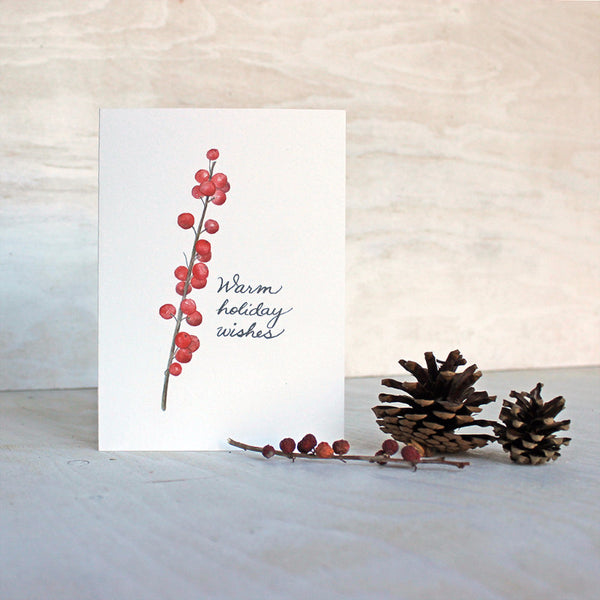 Winterberry holiday card featuring a watercolour painting by Kathleen Maunder.
