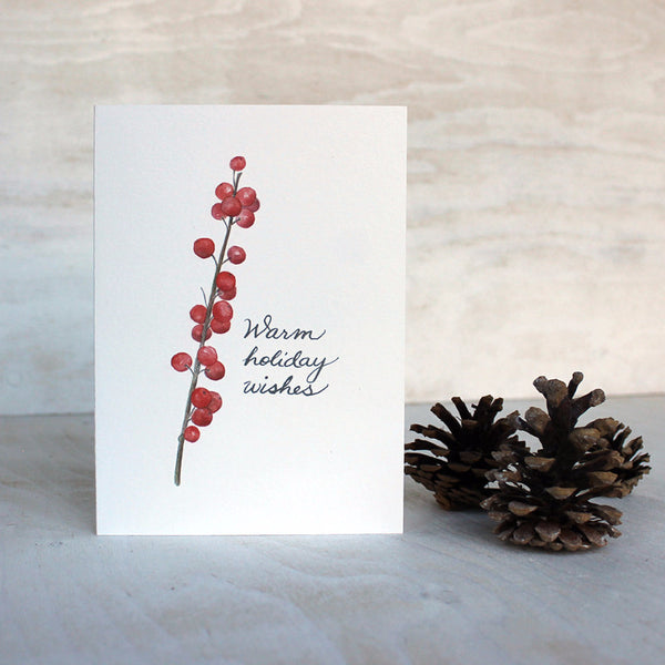 Winterberry holiday card featuring a watercolor painting by Kathleen Maunder.