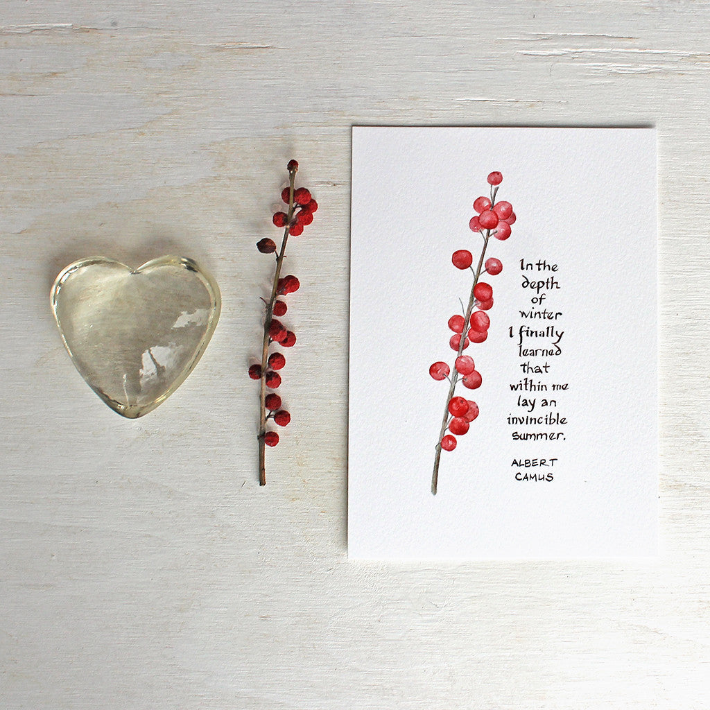 Winterberry watercolor print with Camus quote by Kathleen Maunder