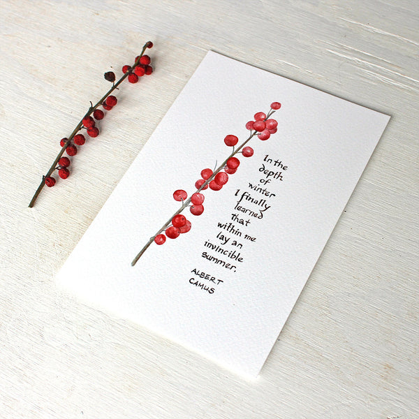 Winterberry watercolor print with Albert Camus quote, trowelandpaintbrush