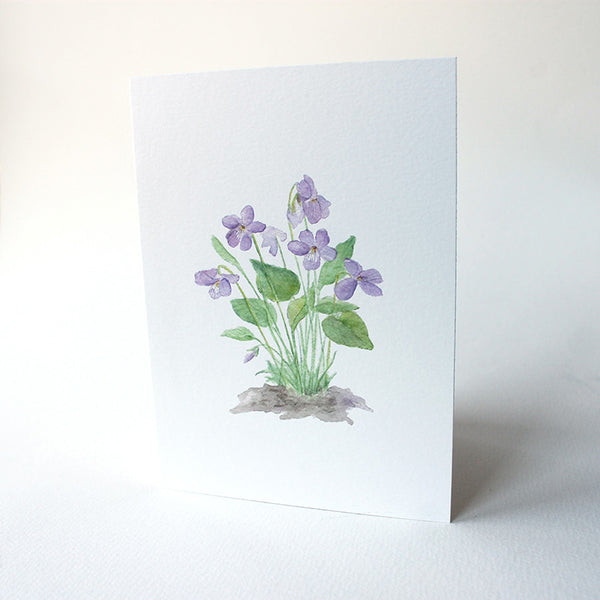 Violet Note Card by watercolor artist Kathleen Maunder, trowelandpaintbrush