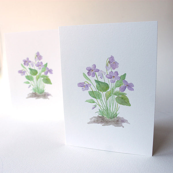 Wood violets note cards by Kathleen Maunder, trowelandpaintbrush.com