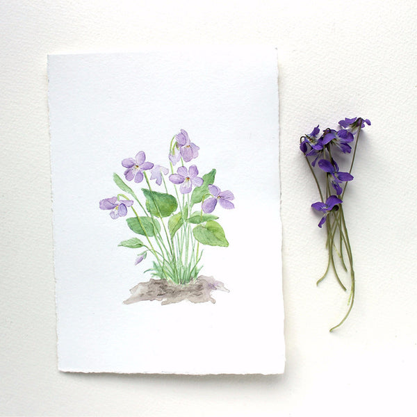 Original watercolor of wood violets by artist Kathleen Maunder, trowelandpaintbrush