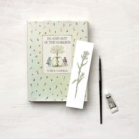 White yarrow (Achillea millefolium) watercolour bookmark by artist Kathleen Maunder