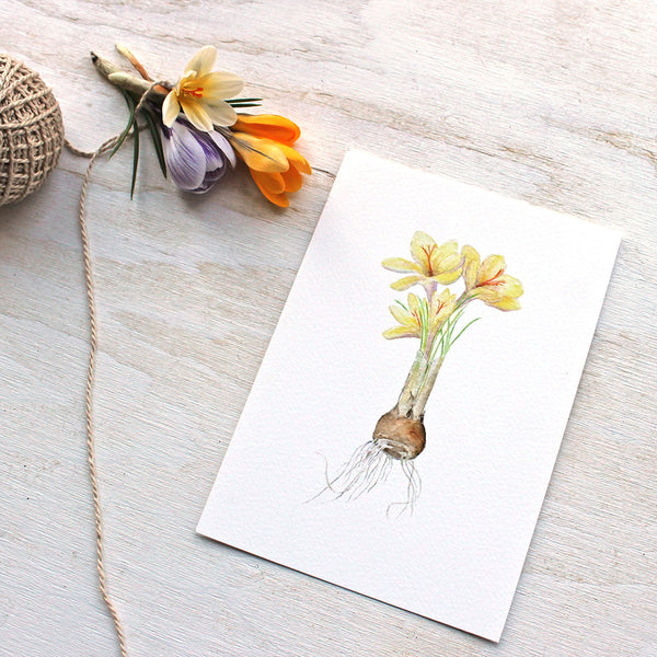 Art print featuring a yellow crocuses watercolour by Kathleen Maunder, trowelandpaintbrush