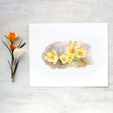 Yellow crocuses by artist Kathleen Maunder, trowelandpaintbrush.com