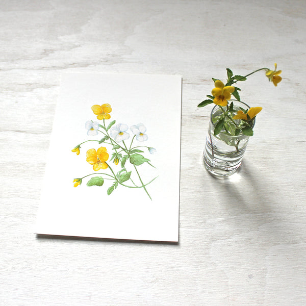 Watercolor painting of yellow and white violas by artist Kathleen Maunder. Available as 5x7 print.