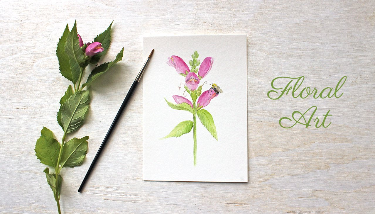 Turtlehead Flowers and Bee Watercolor Print