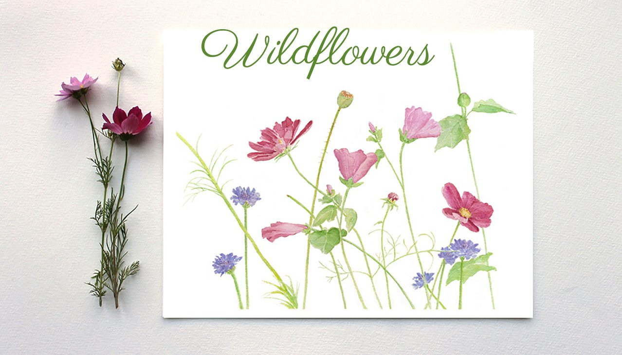 Wildflowers Watercolor Print by Trowel and Paintbrush