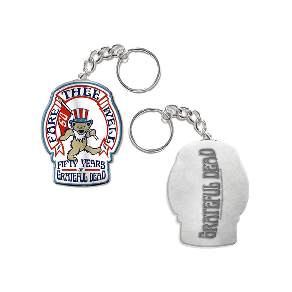 Fare Thee Well Bear and Flag Keychain