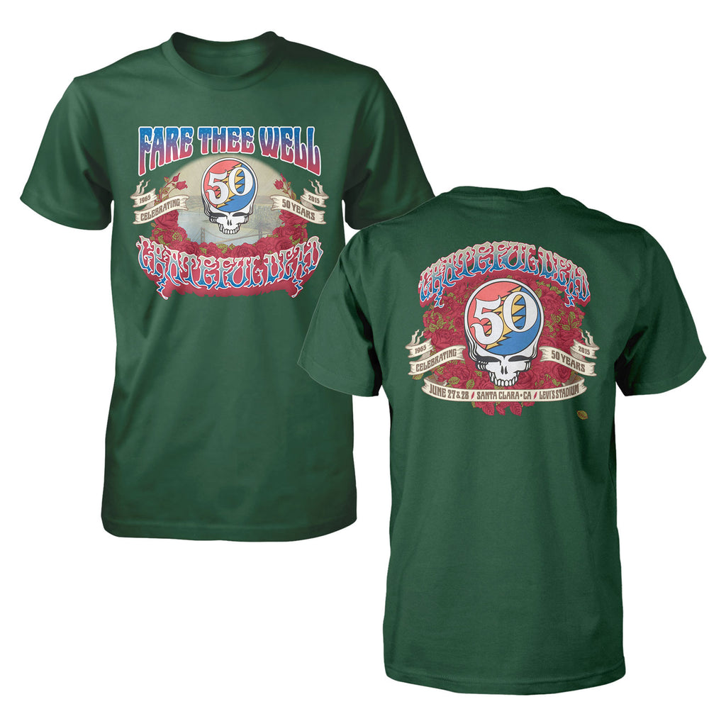 Fare Thee Well Santa Clara Admat on Forest Green Tee