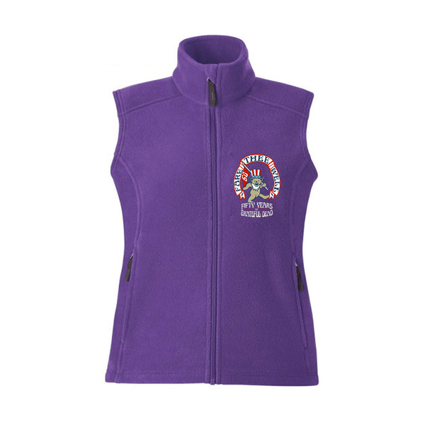 Grateful Dead Bear Flag Purple Womens Zip Fleece Vest