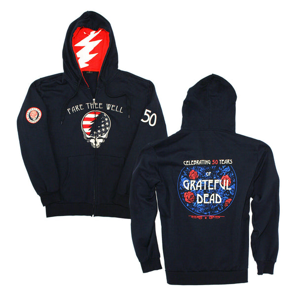Fare Thee Well Patriotic Navy Zip Hoodie
