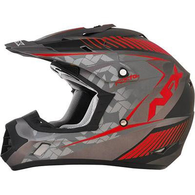 AFX FX17 Factor Helmet - Large - Frost Gray Red [0110-4467]