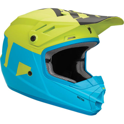 Thor Youth Sector Level Matte Electric Blue/Lime Helmet
