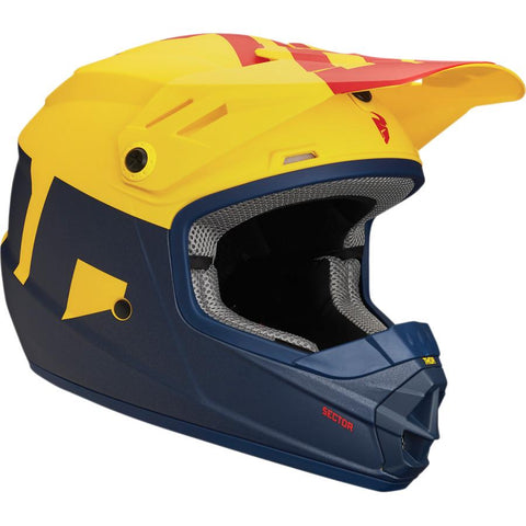 Thor Youth Sector Level Matte Navy Blue/Yellow/Red Helmet