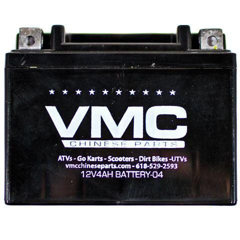 Chinese ATV battery fits many small/mini ATVs, go karts & dirt bikes. Check measurements to ensure this is the correct battery for your machine. Battery description: Factory Maintenance Free, lead acid battery - Non-spillable, No acid filling Voltage: 12v Capacity at 10HR: 3Ah Regular Charge Current: 0.4A Dimensions (+/- 1/16 inch): 4 1/2