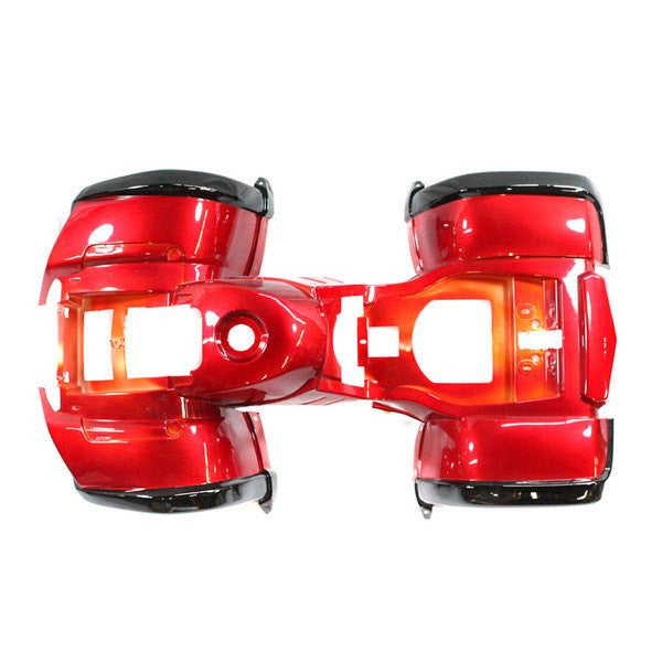 Body Fender Kit for Chinese ATV - 1 piece - Red with Black - Trail Utility - VMC Chinese Parts