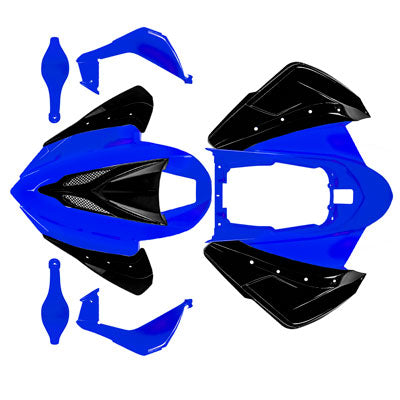 Chinese ATV Body Fender Kit - BLACK & BLUE - Taotao ATA150G - VMC Chinese Parts
