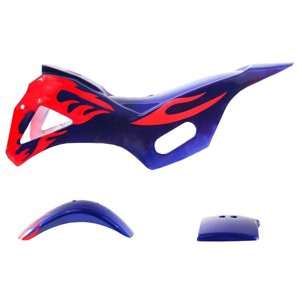 Chinese Mini Dirt Bike Body Fender - 3 piece - Blue with Red Flames - VMC Chinese Parts