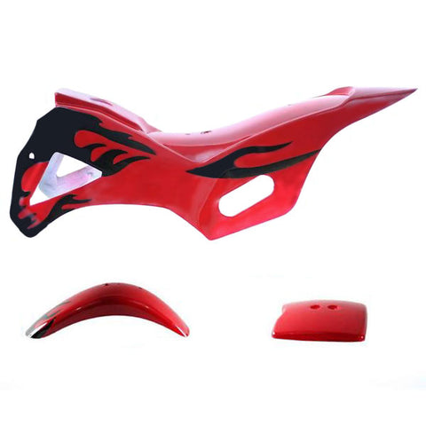 Chinese Mini Dirt Bike Body Fender - 3 piece - Red with Flames