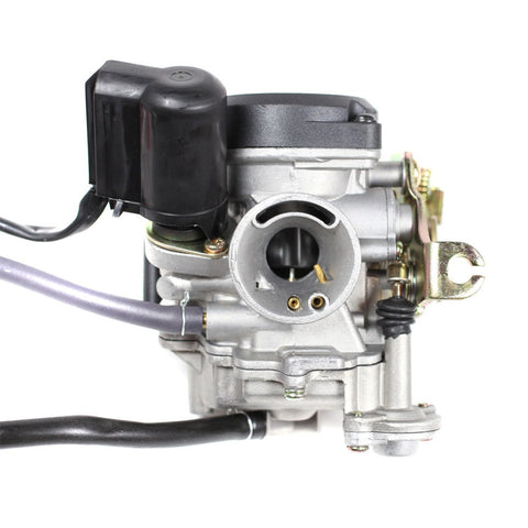 Carburetor PD18J - 18mm with Plastic Top and Rubber Drain Line - GY6 50cc - Version 9