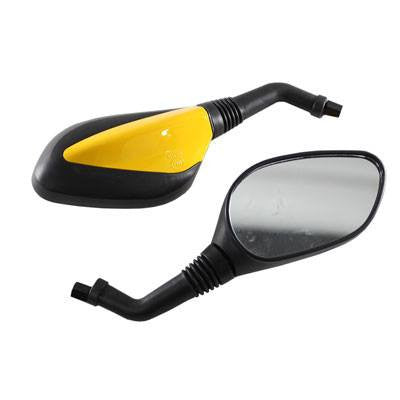 Chinese Scooter Moped Rear View Mirrors - Yellow - Version 44 - Pair - VMC Chinese Parts