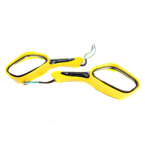 Scooter Rear View Mirror Set with Turn Signals - Yellow