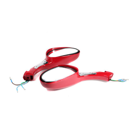Scooter Rear View Mirror Set with Turn Signals - Red