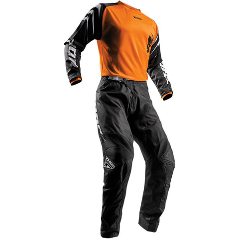 Thor Youth Sector Black Pants - Buy Pants - Get Orange Jersey & Matching Gloves FREE