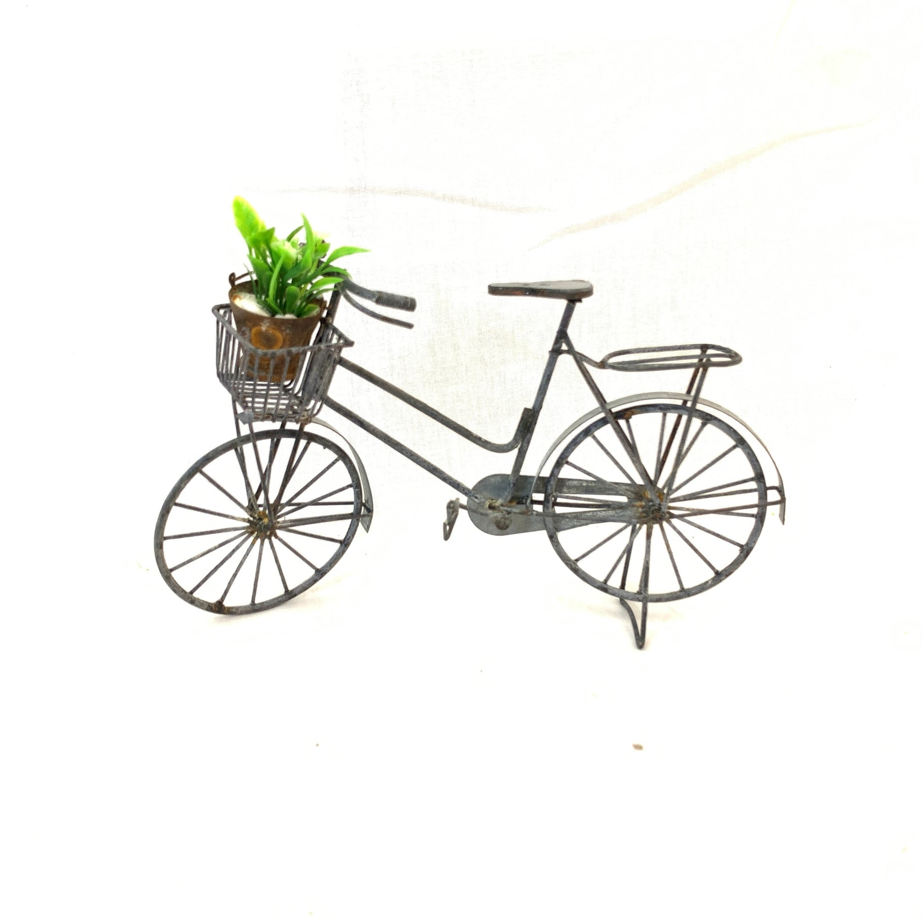 Gray Zinc Bicylce with Basket