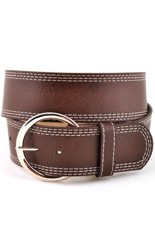 Brown Multi Stitched Belt - JQ Clothing Co. - Oakes ND