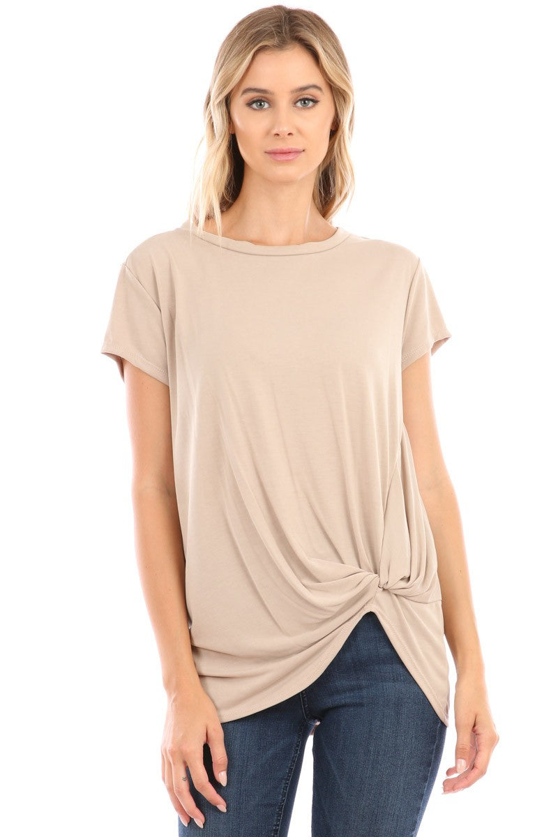 Short Sleeve Cupro Knot Top 1 - The Loft on Main - Oakes ND